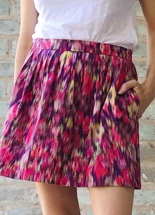 Zara хлопковая юбка с карманами, р. xs-s