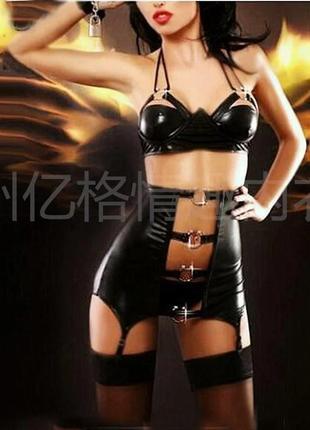 Латексный комплект костюм , сексуальный костюм