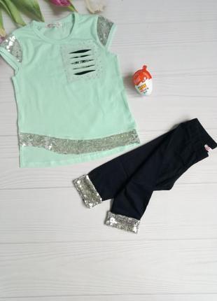 Детский красивый нарядный летний костюм лосины и футболка с пайетками