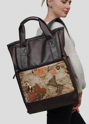 Жіночий коричневий вмісткий рюкзак шопер для подорожей