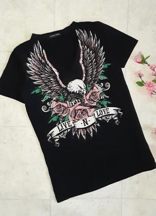 1+1=3 фирменная черная удлиненная футболка с чокером cameo rose, размер 46 - 48
