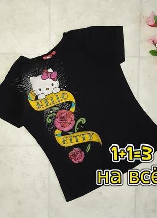 1+1=3 стильная черная трикотажная футболка hello kitty, размер 42 - 44