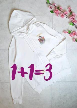 1+1=3 крутая белая кофта лонгслив на молнии с рисунком сзади, 100% коттон, размер 48 - 50