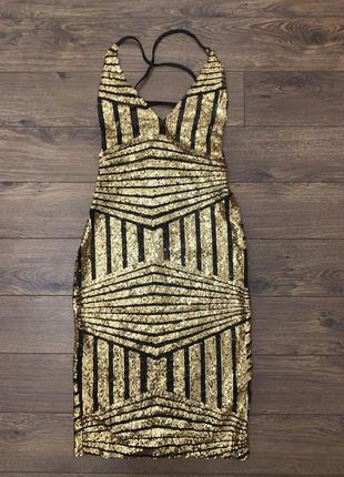 Полупрозрачное черное золотое вечернее платье сетка, в золотых пайетках. с-м, 44-46