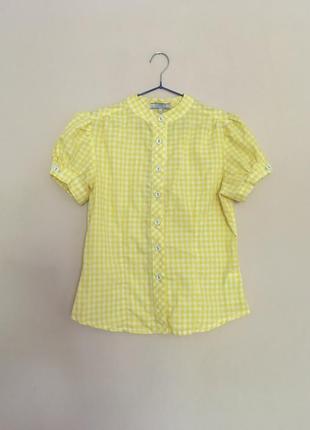 Желтая рубашка в клетку с коротким рукавчиком
