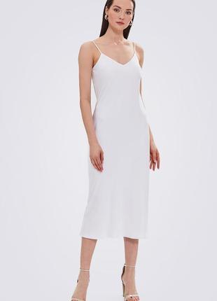Платье комбинация миди шелковое, белое, двойное