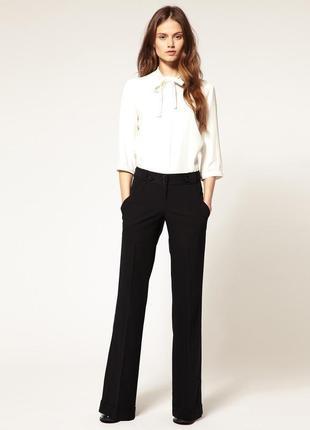 Классические заyженные черные штаны брюки  со стрелками и высокой талией m&s, 14 размер.
