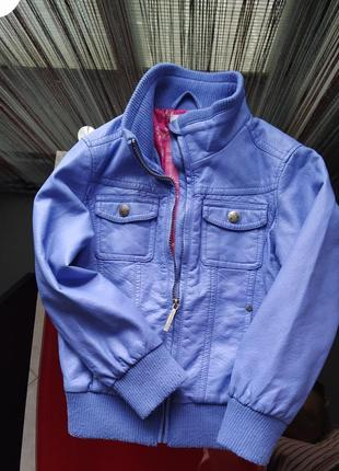 Стильна куртка, бомбер з екошкіри для дівчинки