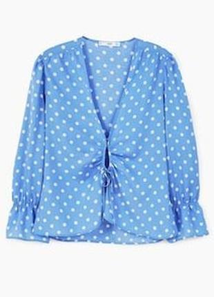 1+1=3 фирменная нежно-голубая блуза блузка в горошек mango, размер 42 - 44