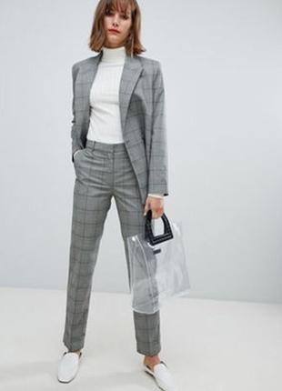 Серые брюки штаны в клетку со стрелкой карманами подворотами высокая талия посадка классик