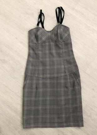 Silvian heach платье сарафан клетка по фигуре карманы бретели шведский стиль