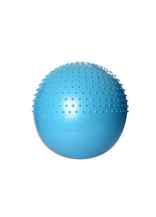 Полумассажный фитнес мяч 75см. profi anti-burst system (антиразрыв) голубой