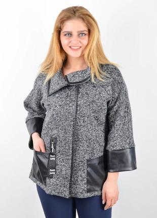Размеры 50-64! стильный жакет кофта ветровка куртка букле серый, большие размеры!