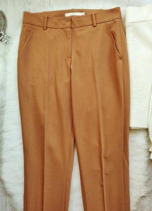 Охра горчичные яркие коричневые брюки классика штаны теплые шерсть стрелками офисные3 фото
