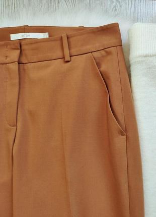 Охра горчичные яркие коричневые брюки классика штаны теплые шерсть стрелками офисные4 фото