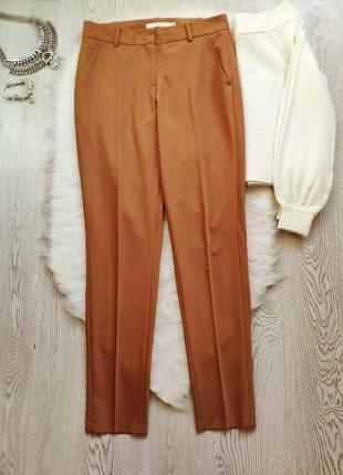 Охра горчичные яркие коричневые брюки классика штаны теплые шерсть стрелками офисные2 фото