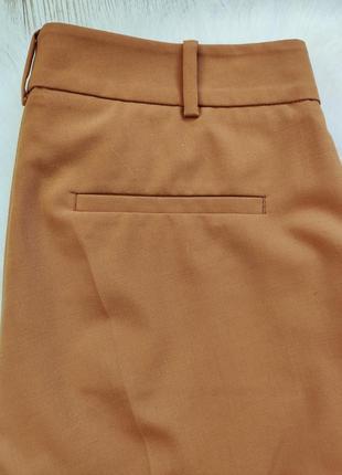 Охра горчичные яркие коричневые брюки классика штаны теплые шерсть стрелками офисные6 фото