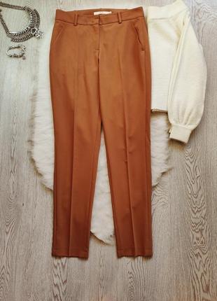 Охра горчичные яркие коричневые брюки классика штаны теплые шерсть стрелками офисные