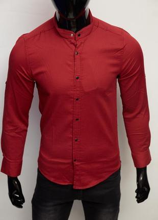 Рубашка мужская котоновая figo стойка 7088