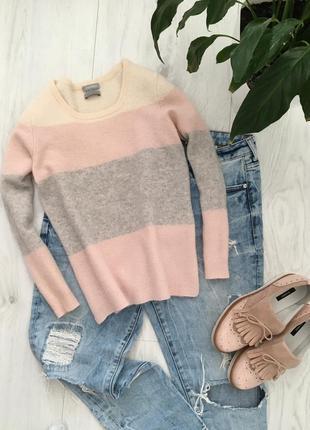 Кашемировый свитер, нежный джемпер в полоску, xs-s