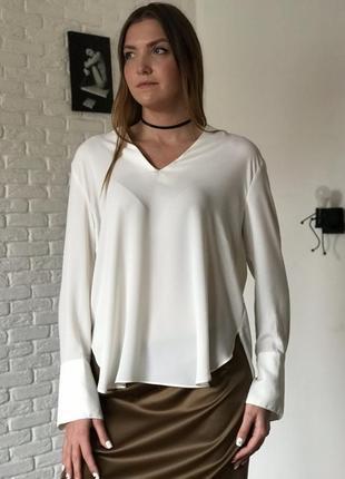 Айвори удлиненная блуза на длинный рукав