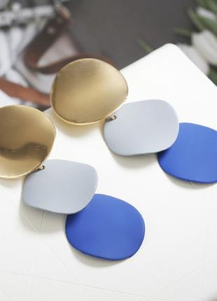 Cерьги серёжки комбинированные золото с матовыми деталями синий иний новые