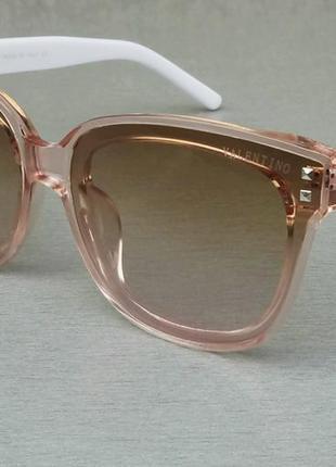 Valentino очки женские солнцезащитные бежевые с розовым поляризированые