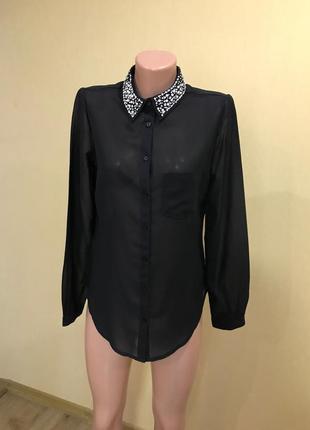 Блуза рубашка с нарядным воротником