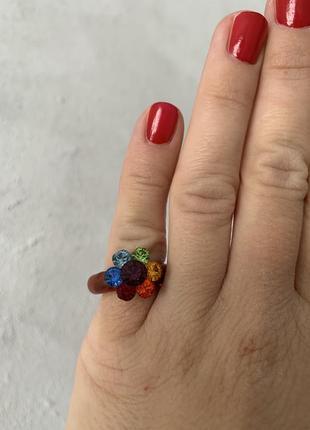 Кольцо цветик семицветик {яркая красивая бижутерия}, размер 16