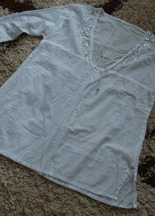 Котоновая рубашка, пляжная туника. размер 12-14