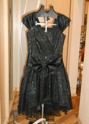 Платье вечернее чёрное c цветными блёстками c&a
