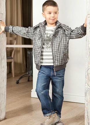 Демисезонная ветровка в клетку на флисовой подкладке для мальчика (quadrifoglio, польша)