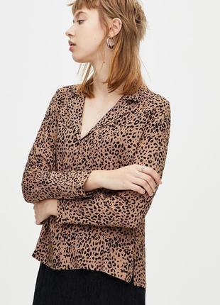 Рубашка блуза оверсайз свободного кроя леопард принт качестенная новая