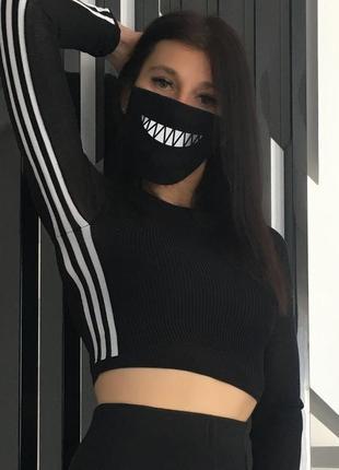 Черная защитная повязка-маска для лица с молодежным принтом (03 jdnn)
