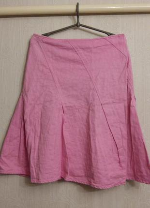 Розовая хлопковая юбка на запахе laura ashley