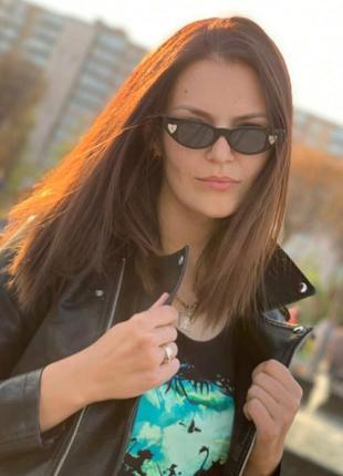 Распродажа! черные солнцезащитные очки узкие линзы ретро новинка овальные яркое сердце