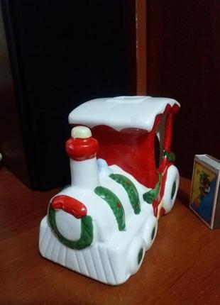 Керамический подсвечник в виде поезда + свеча и подставка к ней