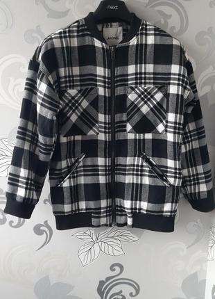 Белый чёрный бомбер бомпер в клетку клеточку куртка курточка пиджак жакет monki