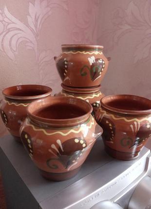5 глиняных горшочков
