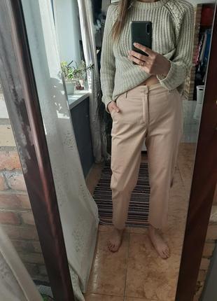 Свободные базовые брюки бежевые высокая талия посадка