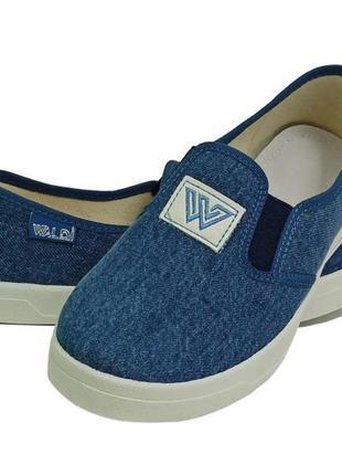 Слипоны мокасины кеды текстиль для мальчика хлопця premium виктор-3 w джинсовый