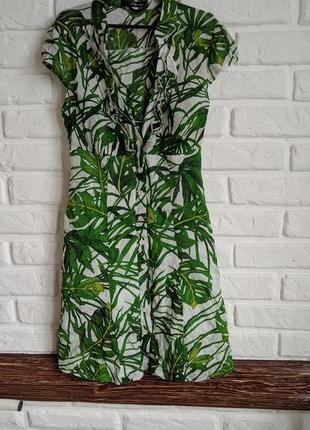 Летнее милое мини платье в лиственный принт