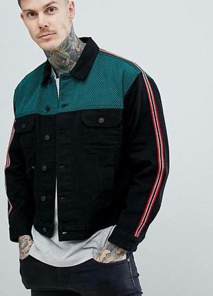 Чорна джинсова куртка asos oversized