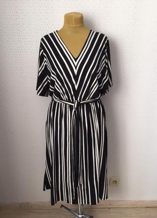 Классное трикотажное платье в черно-белую полоску от h&m, размер xl (можно xxl)