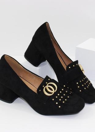 Замшевые женские черные туфли с бахромой на устойчивом каблуке польша2 фото