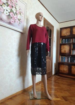 Платье с пайетками stella milani. made in italy.