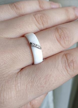 Кольцо белое керамика керамическое