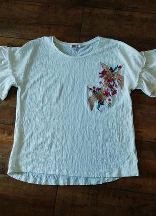 Скидка!!!!футболка женская белая с вышивкой