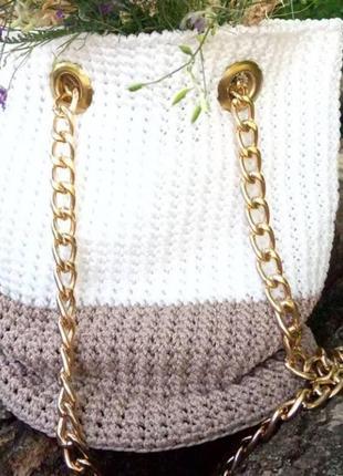 Сумка-ведро из полипропиленового шнура, ручное плетение