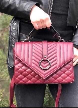 Бордовая сумка через плечо сумочка клатч